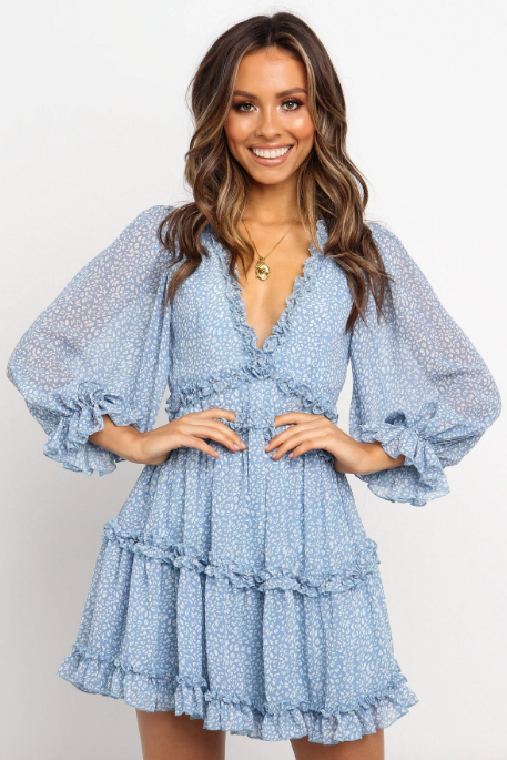 "For something a little fun, this Petal + Pup dress featured a shorter, tiered design which we're vibing with in a big way. $79.95, [buy it online here](https://petalandpup.com.au/products/rimili-dress-blue|target=""_blank""