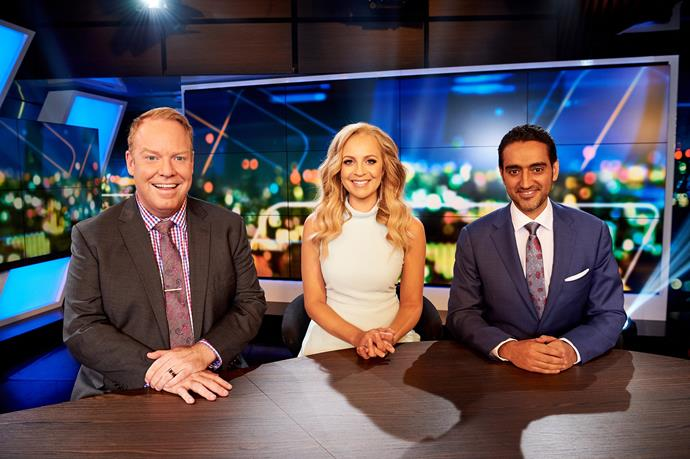 Carrie with her co-hosts Peter Helliar and Waleed Aly.