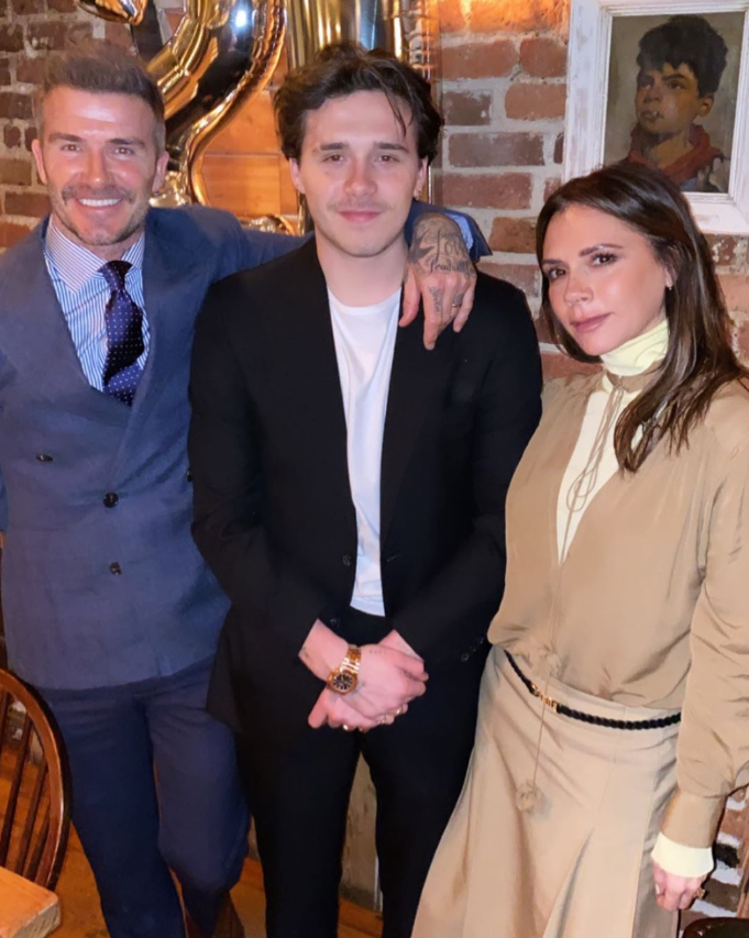 """Proud parents David and Victoria posed with Brooklyn [on his 21st birthday.](https://www.nowtolove.com.au/parenting/celebrity-families/brooklyn-beckham-21st-birthday-62918
