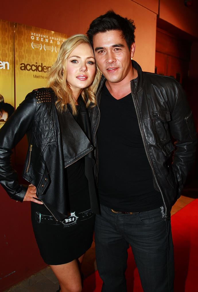 All loved-up in matching leather jackets.
