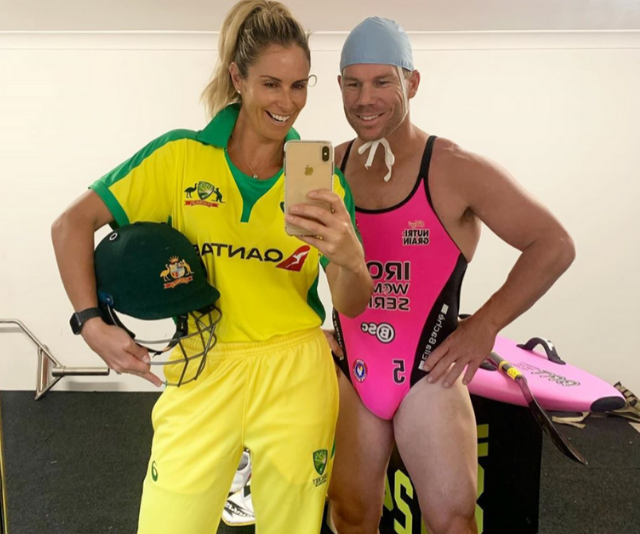 Nailed it! Candice and David Warner take on the Flip The Switch challenge.