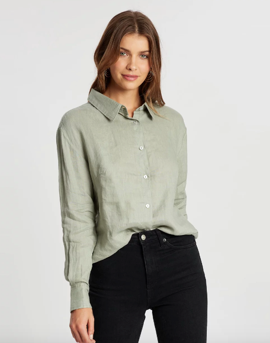 "This lighter khaki shirt by Atmos&Here is perfect with a pair of casual jeans to dress down, or can be easily dressed up with some black pants. $79.99, [buy it online here](https://www.theiconic.com.au/sorrento-linen-shirt-999245.html|target=""_blank""