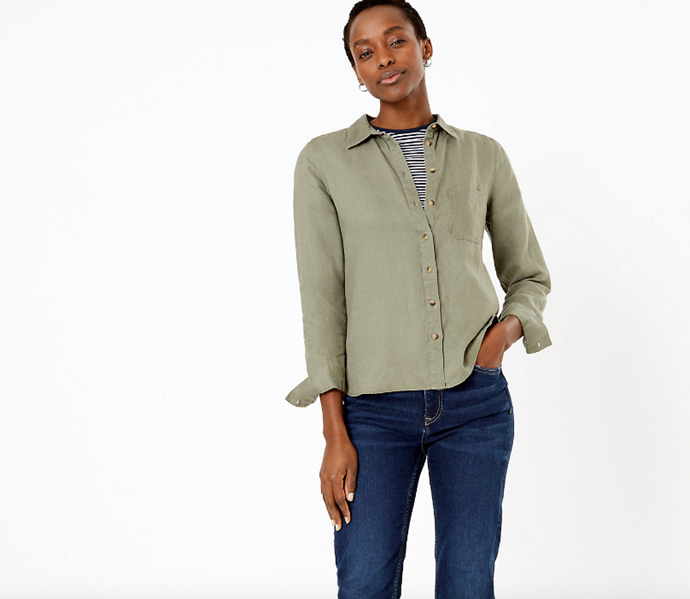 """This Marks & Spencer Khaki shirt is made from linen and makes for the perfect Zoom call attire. $59, [buy it online here](https://www.marksandspencer.com/au/pure-linen-shirt/p/P60374775.html