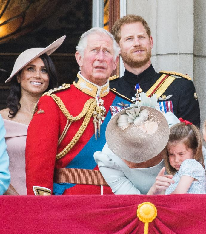 A year earlier, it was Charlotte's turn to be a little unsure about Trooping the Colour's landmark event - this shy moment was too much!