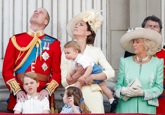 Trooping the Colour is known for its royal pomp and fanfare display, but 2019's event was truly one for the ages when all three Cambridge children provided a hilarious spectacle of mischief and mayhem. Camilla didn't seem to be at all impressed...
