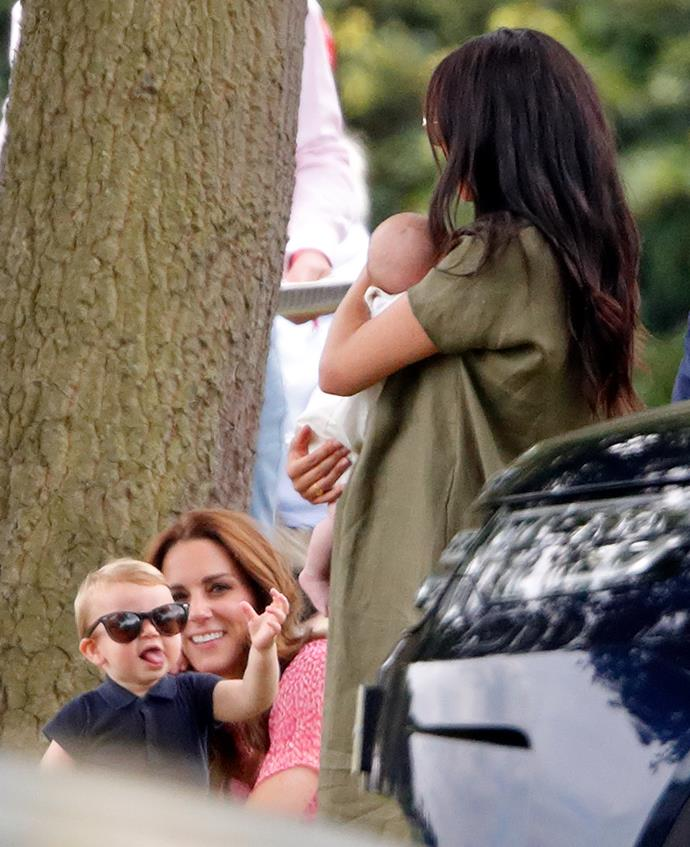 On a day out at the polo in 2019, Prince Louis was seen having a right old time with his mum's Stella McCartney specs. Looks like he's eyeing up a future playmate in baby Archie here too...