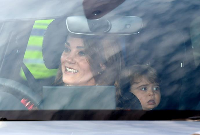 For the Queen's annual pre-Christmas lunch in 2019, the Cambridges were seen driving into Buckingham Palace - Louis' little face was meme-worthy enough in its own right.