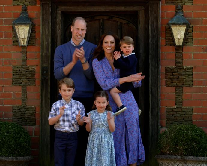 "In a rare family appearance, the Cambridges [shared a clip](https://www.nowtolove.com.au/fashion/fashion-news/kate-middleton-blue-floral-dress-63638|target=""_blank"") from isolation amid the COVID-19 pandemic to show their support for those working on the frontline. Breaking into applause, the family joined thousands of others across Britain who were doing the exact same thing."