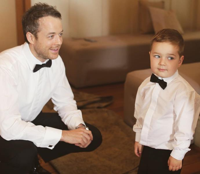 Sonny and his Dad looking very handsome and grown up in their matching tuxedos.
