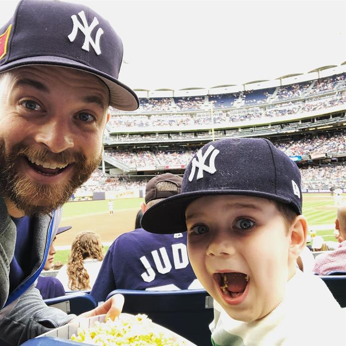 Hamish and Sonny living their best lives at the baseball in New York.