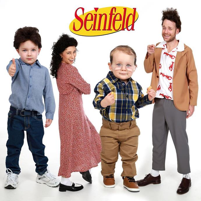 For Halloween in 2018, the whole family dressed up as characters from *Seinfeld*! Too cute.