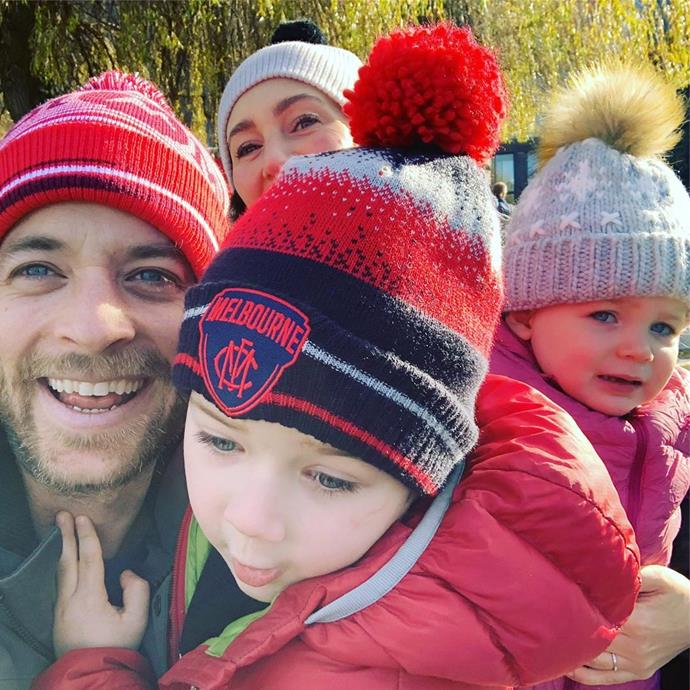The Blakes keeping their noggins warm from the cool Melbourne weather in matching beanies.