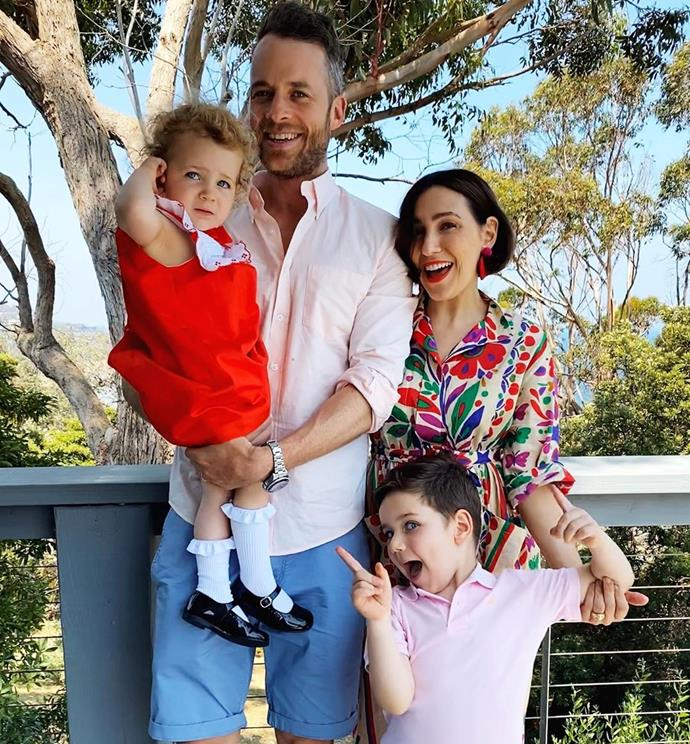 Hamish and his wife Zoe with their two kids, Sonny and Rudy.
