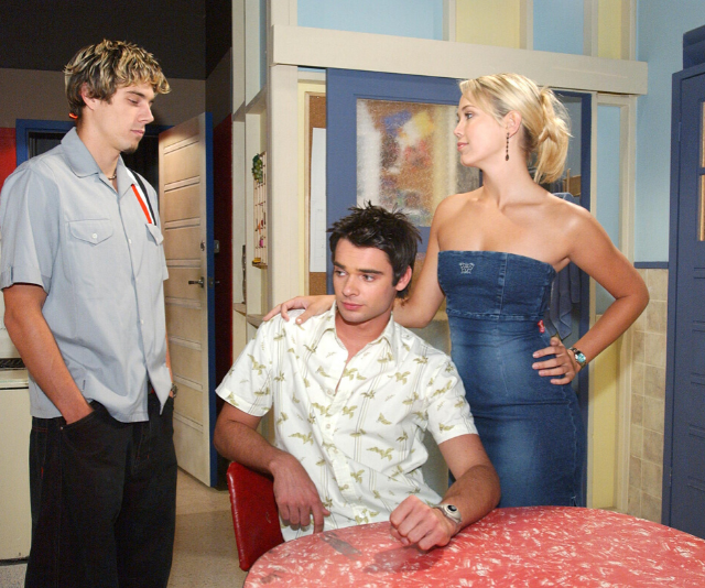 **Hayley and Josh** <br><br> Before Noah's death, Hayley and Noah's relationship was rocked by a cheating scandal when the blonde beauty kissed their housemate Josh West (Daniel Collopy). Although Noah and Hayley split and she started dating Josh, their relationship fell apart in the most soap way possible! Alf (Ray Meagher) warned her that he's having vision of the couple's future and she will be desperately unhappy, so she called it off.