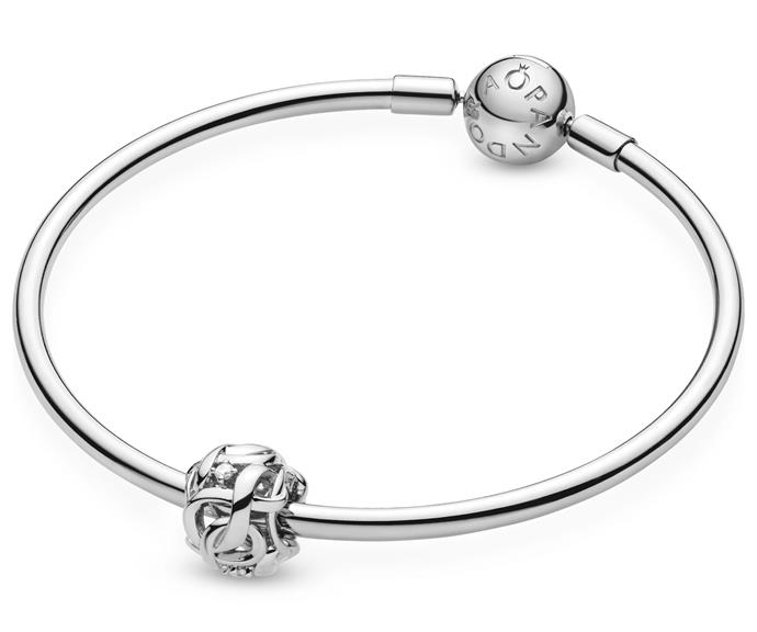 """**Pandora bangle, $89**<br> **Pandora charm, $39** <br><br>  Make mum feel special with this timeless and classic piece of jewellery that she'll keep for years to come.  <br><br> Make it personal with the addition of the infinity charm symbolising eternal love. <br><br> Check out the [bangle](https://au.pandora.net/en/jewellery/bracelets/pandora-moments-bangle/590713.html
