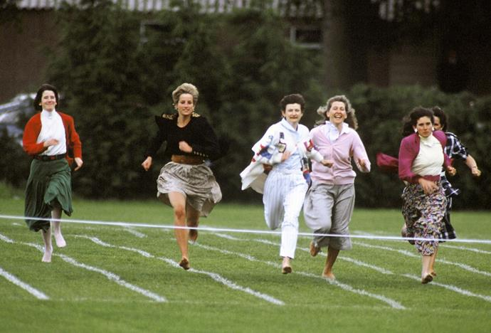 Two years later, she was back in full force - only Lady Di could make running in a skirt and bare feet look so graceful.