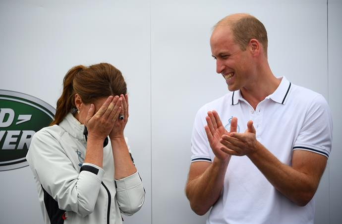 William *tried* not to rub in the fact that he beat wife Catherine at the annual King's Cup regatta in 2019... emphasis on *tried*, might we add.