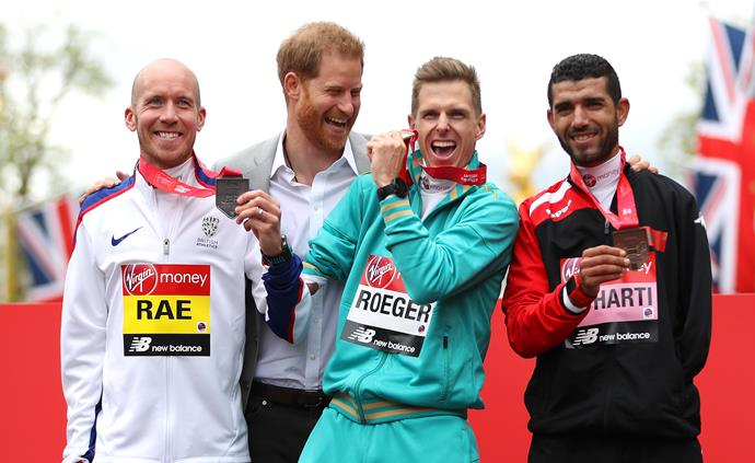 Prince Harry might be a good runner himself, but he's all about celebrating talent all round - he was pictured with the winners of the London Marathon that same year.