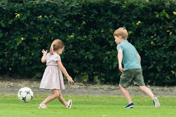 """Fast-forward one year later and she was already onto it! The Cambridge siblings were spotted [having a good old-fashioned kick around](https://www.nowtolove.com.au/royals/british-royal-family/meghan-markle-kate-middleton-polo-56971