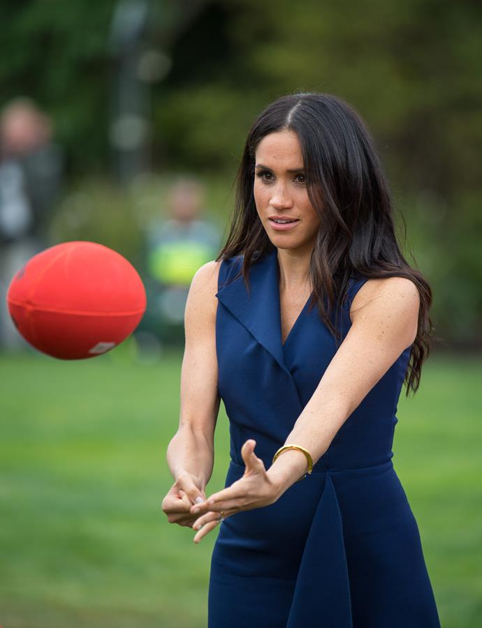During her royal tour of Australia in 2018, Duchess Meghan had a go at punting an AFL-approved football. Patrick Dangerfield eat your heart out...