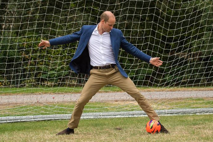 Prince William took his job as goal keeper *very* seriously during a visit to a girls soccer program in 2017.