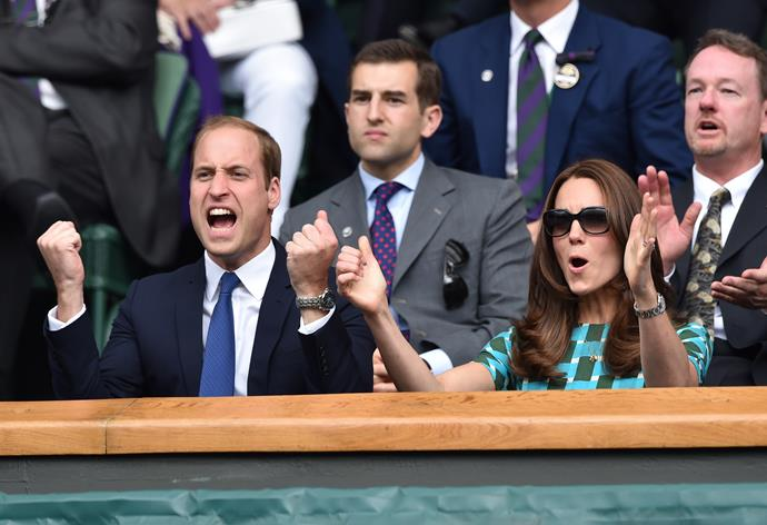 Ever the tennis fans, the Duke and Duchess of Cambridge got right into the atmosphere at the Wimbledon Championships in 2014.