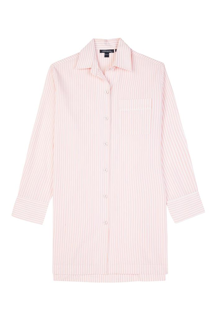 """**Jasmin and Will sleep shirt, $129** <br><br> Lightweight and easy for lazy weekend morning reading the paper in bed. <br><br> Grab it online [here](https://www.jasmineandwill.com/cotton-sleep-shirt-spanish-villa-stripe.html