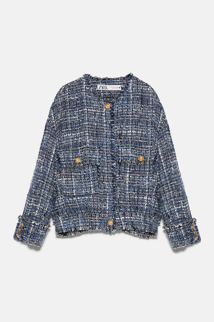"""**Zara tweed jacket, $189** <br><br> Mum will have all the Parisian feels in this little tweed number. Perfect for emulating Catherine, Duchess of Cambridge's signature style! <br><br> Visit the online store [here](https://www.zara.com/au/en/tweed-jacket-p02687396.html?v1=50368145&v2=1010155