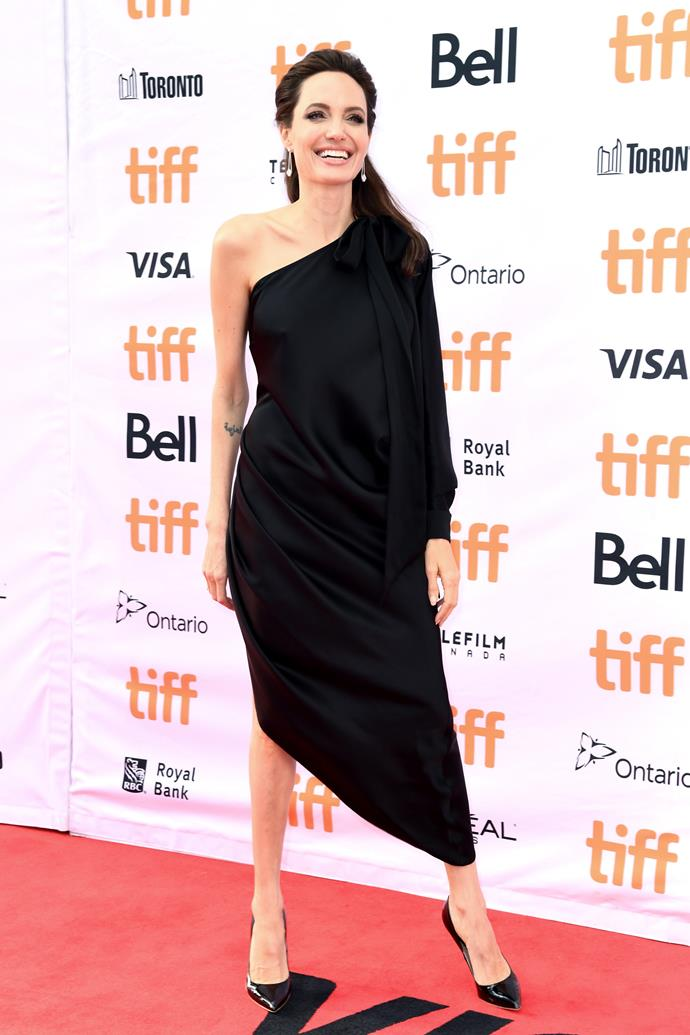 More than a decade later, Brad's second ex Angelina Jolie rocked up to the Toronto Film Festival in a stunning black number.