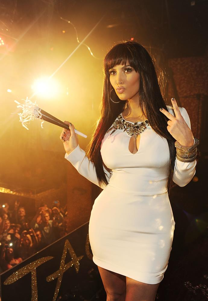 Kim Kardashian won bonus points for her revenge Gucci dress and revenge hair at a Las Vegas New Year's Eve party in 2011 following her divorce from Kris Humphries - her husband of 72 days.
