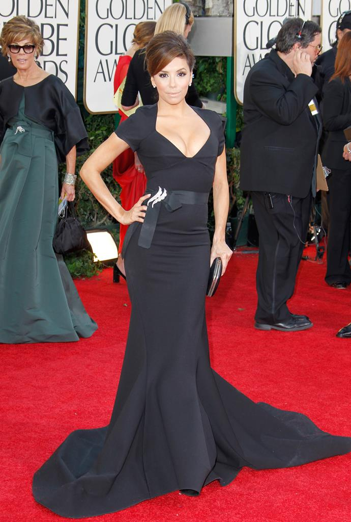 *Desperate Housewives* star Eva Longoria exuded glamour at the 2011 Golden Globes after her divorce from husband Tony Parker in this showstopper gown.