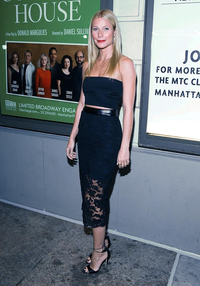 "Gwyneth Paltrow's ""conscious uncoupling"" with Chris Martin was on of the defining moments of 2014 but, the Oscar winner looked stunning when she stepped out shortly afterwards to support her mum Blythe Danner for her Broadway play."