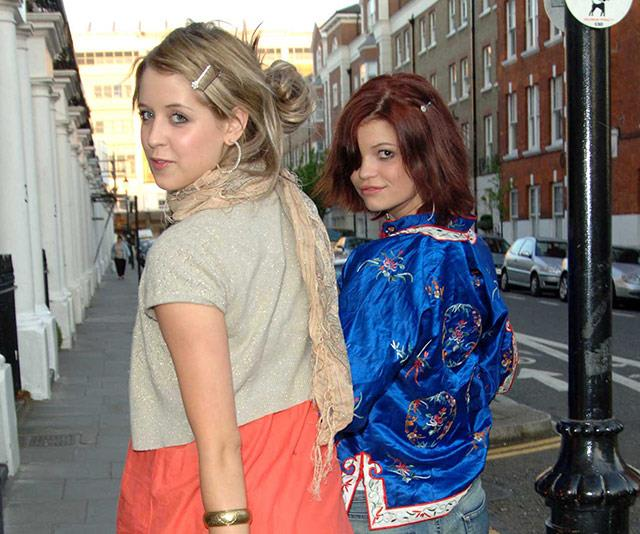Peaches and Pixie step out at a party in London in 2005.