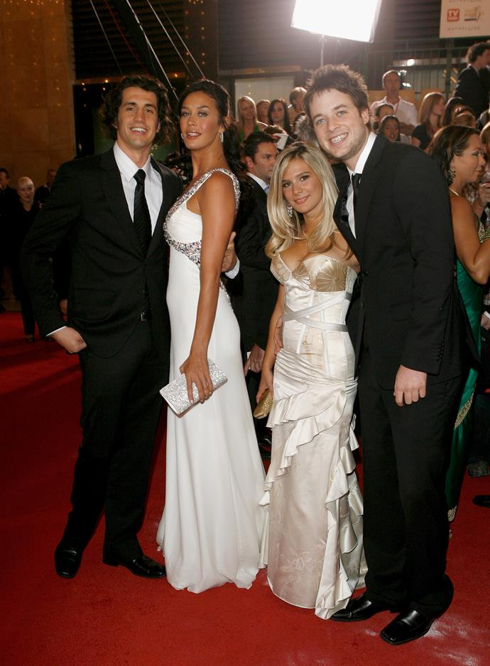 Andy Lee, Megan Gale, Anna Jennings-Edquist and Hamish Blake on the red carpet at the 2007 Logie Awards.