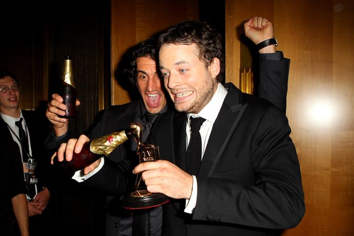 "Hamish ""cheersing"" his Logie Award in 2012."