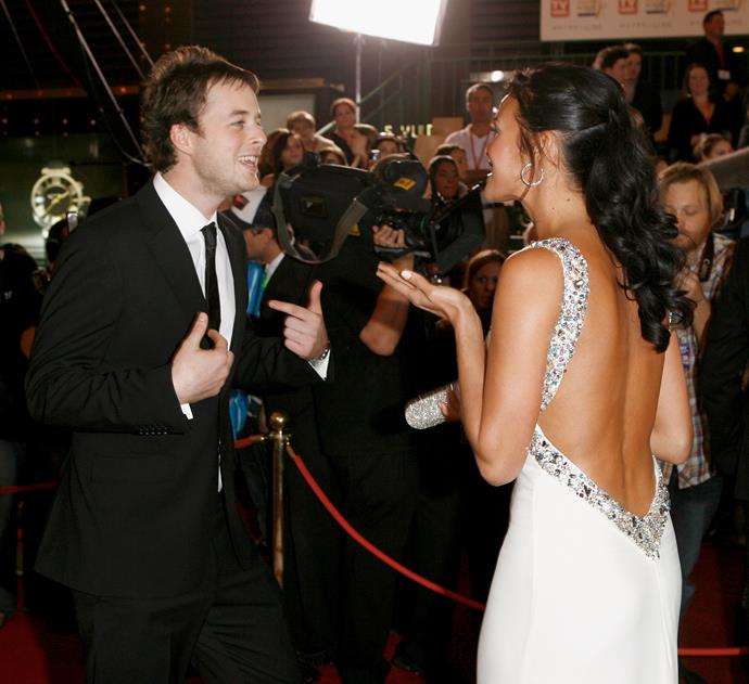 Hamish and Megan Gale chatting on the red carpet. We can only imagine what kind of mischief Hamish was getting up to here.