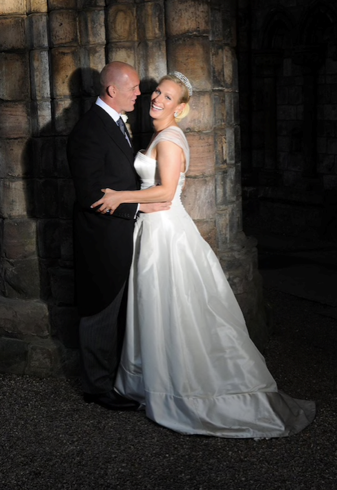 Zara and Mike Tindall pictured on their wedding day in Edinburgh, Scotland.