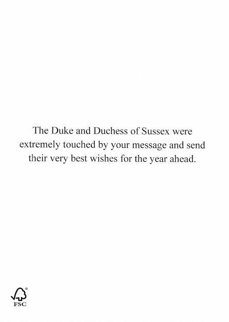 Harry and Meghan shared this message with Christmas well-wishers.
