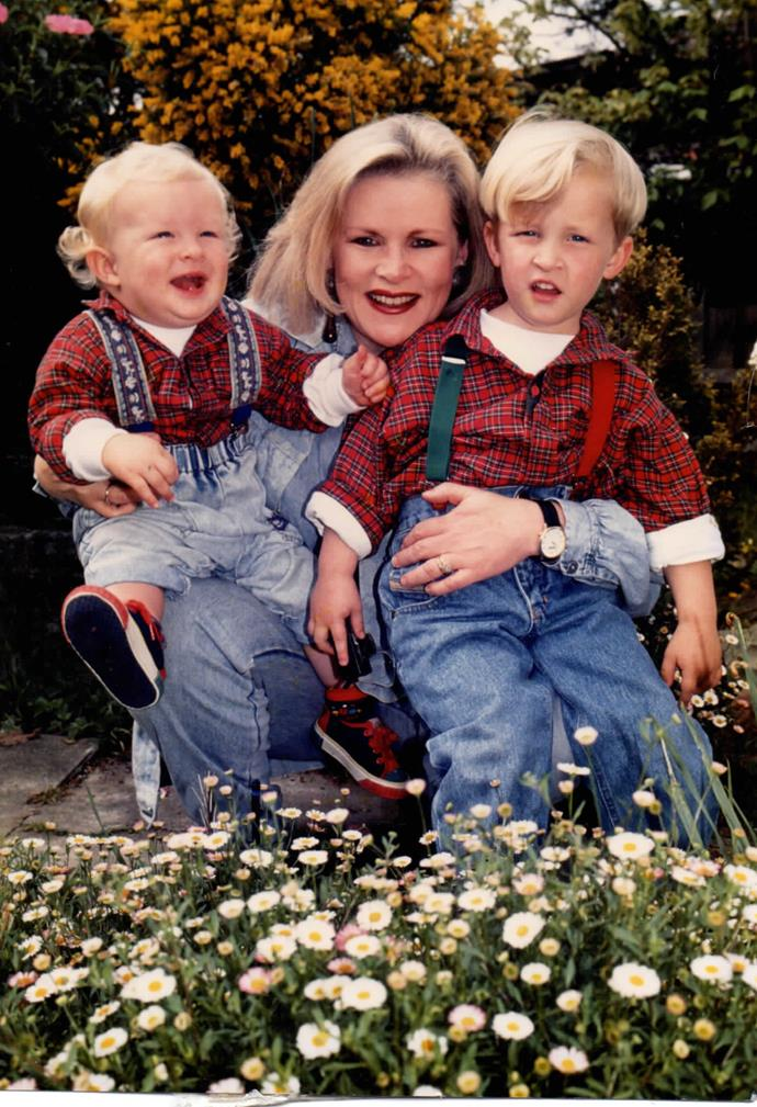 Colette with her sons Charlie (left) and Sam when they were much younger.