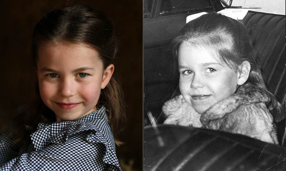 Принцесса Шарлотта (слева) и леди Сара Чатто в детстве (справа)