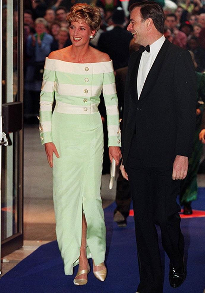 A burst of mint never goes amiss. This stripy number worn to a movie premiere in 1993 proved she's a colour chameleon when it comes to fashion.