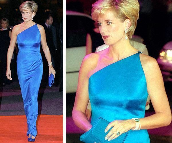 A one-stop one-shoulder shop was the name of the game for Diana from the get go. This style worn in 1996 was the definition of chic.
