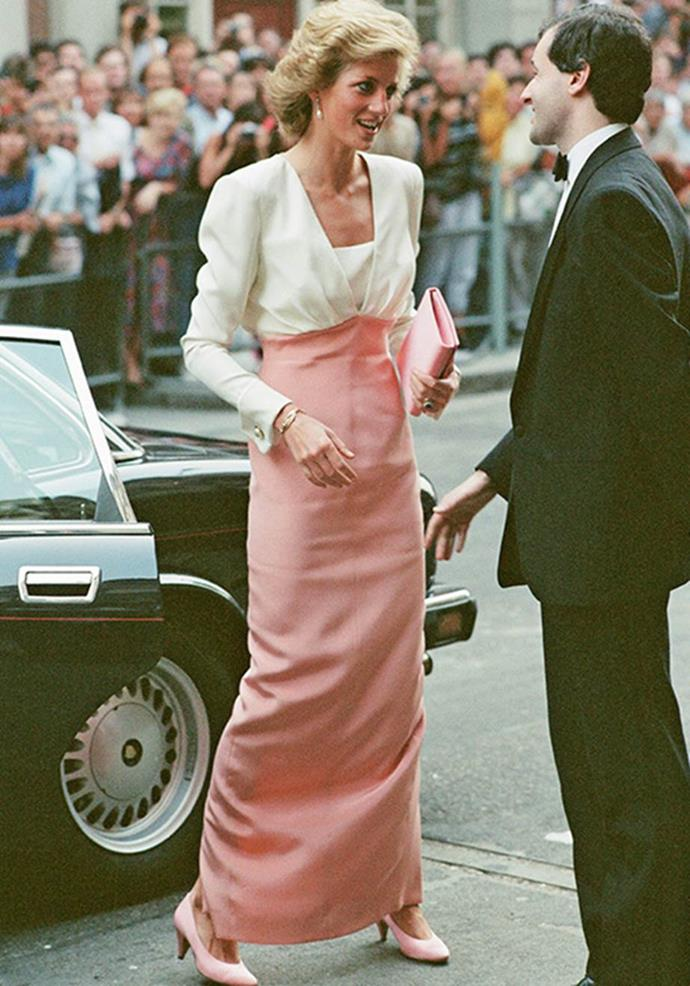 Attending the ballet in London in 1984, Diana's pastel pink and white number drew every eye in the vicinity - for obvious reasons.