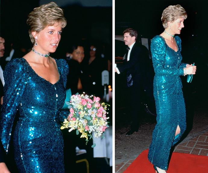 In 1990, Diana literally glittered in this sparkly Catherine Walker number.