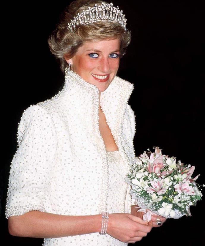 "Known as her ""Elvis'""dress because of it's quirky collar, Diana's bejewelled Catherine Walker design is another iconic piece that will undoubtedly inspire trends in years to come."