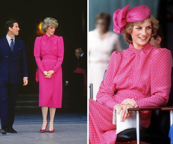 Ever the colourful natural, Diana pulled off this bright pink Donal Campbell creation not once, but twice in 1983 and 1985.