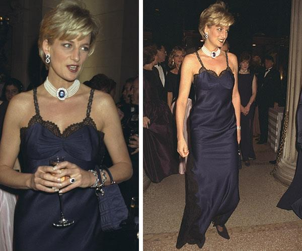 At the 1996 Met Gala, Diana's John Galliano for Dior gown took the humble lace slip dress style from our PJ drawers straight to street wear - and we have this glorious moment to thank for it.