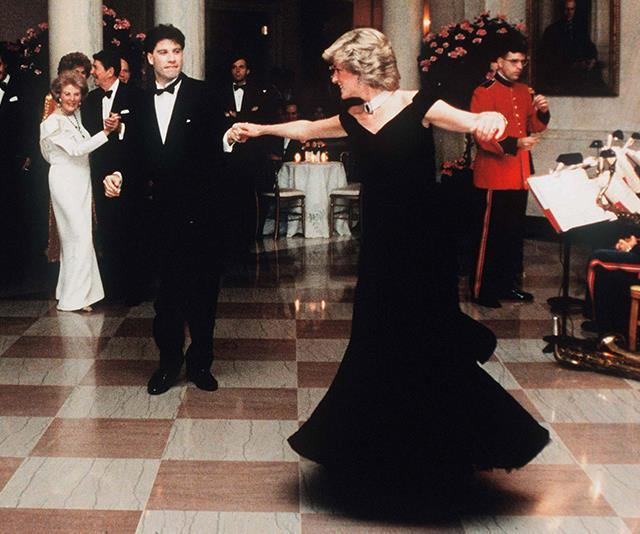 Ah yes, *the* Travolta dress. The Princess' Victor Edelstein design will go down in history as one of the greatest of all time as she took to the ballroom to dance with John Travolta at the White House in 1985.