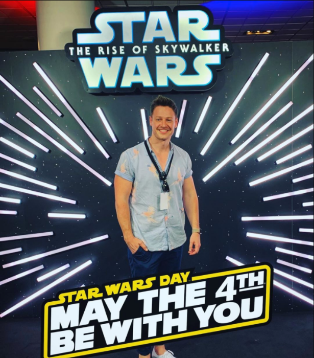 **Matt Agnew**  <br><br> We shouldn't be surprised astrophysicist-turned-Bachelor, Matt Agnew is celebrating! Would *Star Wars* becoming a reality be his dream come true?