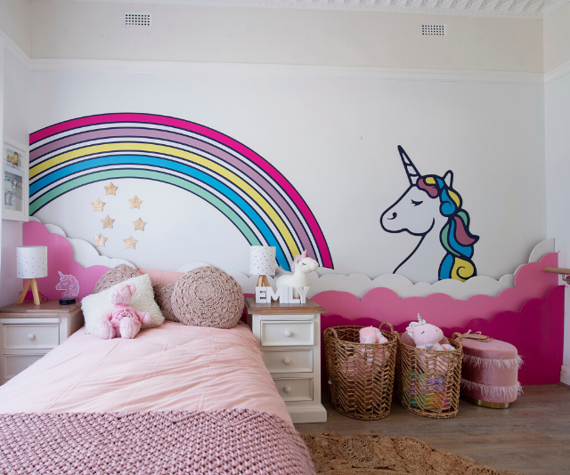 Although out of their comfort zone, Laith and George did a cute job on four-year-old Emily's bedroom and even left plenty of space so she could continue her ballet practice.